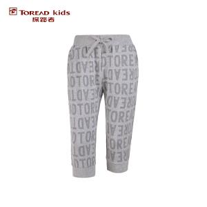 探路者童装 户外运动 夏装女童针织满印运动七分裤 儿童七分裤短裤