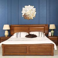 新中式实木家具 胡桃木双人床1.8米气动储物床箱简约欧式