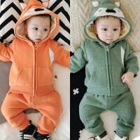 宝宝加绒套装男01岁加厚6-12个月女新生儿童装衣服婴儿冬季两件套