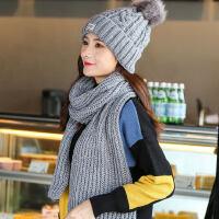 毛线帽子女韩版针织加绒加厚围巾围脖套装保暖时尚两件套棉帽