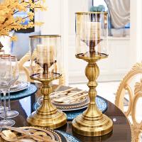 家用金属轻奢蜡烛台套装欧式香薰蜡烛餐桌烛台摆件玻璃复古西餐