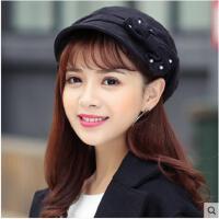秋冬季韩版贝雷帽女八角帽优雅时装鸭舌帽显脸小盆帽百搭帽子