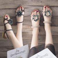 凉鞋女外穿夏季时尚新款百搭花朵平底两穿凉拖仙女风沙滩罗马鞋子