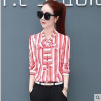 长袖雪纺衫女蝴蝶结户外新品网红同款新款韩版宽松泡泡袖衬衫女士打底寸衫