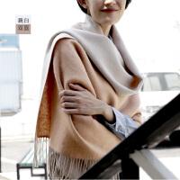 纯羊毛披肩秋冬季女保暖加厚超大围巾披肩两用双面长款
