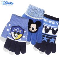 迪士尼冰雪奇缘苏菲亚儿童手套保暖冬季女童宝宝五指加厚可爱毛线手套