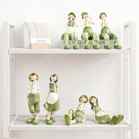 创意吊脚娃娃小礼品兔子一家摆件树脂客厅家居摆设酒柜可爱卡通