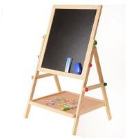 儿童木制高品质榉木黑板 双面磁性写字板 宝宝益智画板