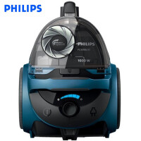 飞利浦 (PHILIPS) 卧式吸尘器小型家用干式地毯式强力柔和静音大吸力大功率无尘袋 FC5986/81牛仔蓝