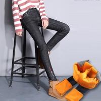 新款加绒牛仔裤女长裤冬显瘦女裤刺绣保暖小脚铅笔裤子