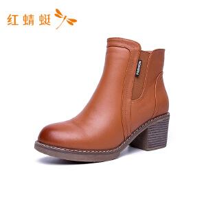 红蜻蜓时尚圆头纯色百搭潮流粗高跟女短靴