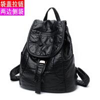 新款新款大容量水洗皮双肩包女韩版潮软皮旅行包妈咪背包包