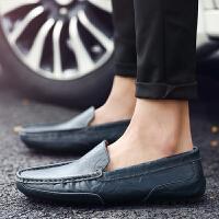 货到付款 秋冬季男士豆豆鞋透气英伦黑色开车鞋真皮商务休闲皮鞋耐磨懒人鞋子