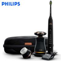 飞利浦(PHILIPS)男士护理套装 复古剃须刀 黑钻牙刷 剃须刀电动牙刷组合护理套装 S8880/68
