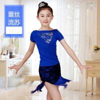 女童蕾丝拉丁舞裙少儿拉丁舞服装儿童舞蹈练功服女孩跳舞夏季短袖