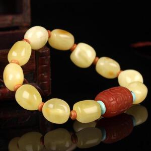 珍稀白蜜蜡原石创意DIY手串 配南红桶珠20.18g