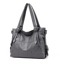 新款欧美商务单肩女包大容量旅行手提包斜挎女士大包包休闲袋 灰色 SN3098优雅灰色