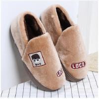 2017年新品冬季居家亲子装情侣厚底防滑保暖男女棉拖鞋 咖啡色-宝宝款