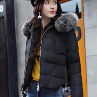 米衣连2017秋冬季新款女装韩版保暖短款羽绒棉服时尚毛球棉衣外套女