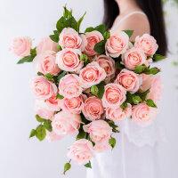 奇居良品 仿真花绢花仿真玫瑰花束餐桌装饰花艺 2头香槟玫瑰