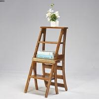 美式乡村北欧实木折叠椅多功能两用梯子椅子花架书架靠背椅子用 胡桃色