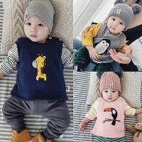 婴儿马甲冬季加绒保暖背心 新生儿0-1岁上衣冬装 男女宝宝3-6-9月