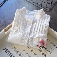 女童立领花边白衬衫儿童韩版刺绣花朵纯棉长袖打底衫衬衣2018春装