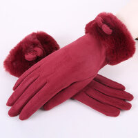 韩版学生保暖加绒加厚防风骑车女士触屏手套甜美可爱手套女