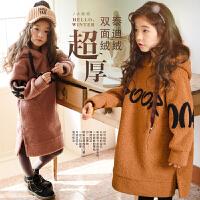 2017冬装韩版女童加绒加厚连衣裙中大童儿童连帽泰迪绒女孩卫衣裙