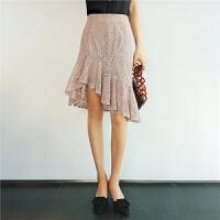 七格格蕾丝裙半身裙网纱女夏装新款春高腰中长裙包臀裙不规则鱼尾裙
