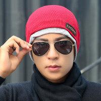 帽子男保暖针织套头帽加绒加厚毛线帽韩版男士带围巾帽子
