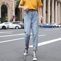 牛仔裤女春夏装新款高腰宽松阔腿显瘦百搭学生九分女裤子