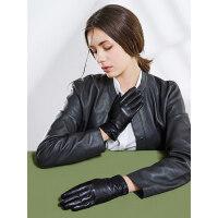 户外运动真皮手套女士触屏羊皮加绒加厚保暖蝴蝶结短款骑行开车