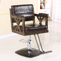 美发椅复古铁艺理发店椅子升降椅理容椅发廊剪发椅美发店椅可放倒 官方标配