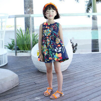 童装女童连衣裙儿童夏装裙子宝宝背心裙沙滩裙海边度假碎花公主裙