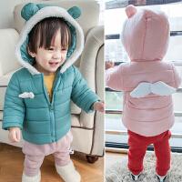 冬季新款 新生儿婴幼儿童小宝宝保暖外套天使翅膀棉衣连帽拉链衫