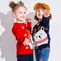 小猪班纳童装宝宝毛衣男女童针织衫2019冬季新款儿童纯棉休闲毛衫