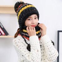 新款女士毛线帽时尚围脖帽毛球帽子 韩版潮针织保暖护耳帽子女