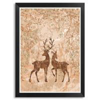 麋鹿diy数字油画 现代简约客厅沙发背景墙装饰画玄关餐厅挂画壁画