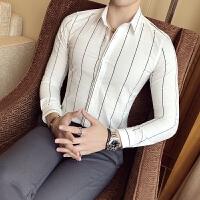 衬衫男长袖韩版修身商务休闲衬衣青年百搭夜店发型师寸衣
