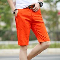 夏季新款男士纯棉休闲短裤韩版直筒五分裤沙滩裤印花中裤