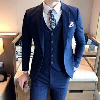 英伦青年男士修身西服马甲西裤三件套时尚免烫弹力新郎礼服西装潮