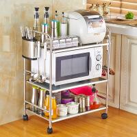 微波炉置物架 烤箱架不锈钢双三层收纳调味料架多功能厨房置物架