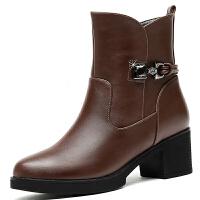 复古马丁靴女2017新款冬季加绒女靴时尚百搭粗跟短靴中跟高跟女鞋
