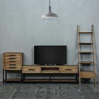 客厅复古电视机柜子组合小户型美式实木家具创意做旧铁艺地柜 组装