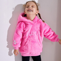 【2件3折到手价:109】小猪班纳女童连帽毛绒卫衣女宝宝保暖绒衣加厚