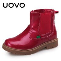 UOVO新款女童靴子秋冬短靴儿童马丁靴单靴韩版公主靴童鞋英伦时尚马丁靴 帕米尔红