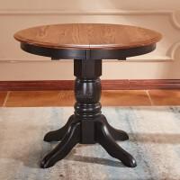美式餐桌实木圆桌大小户型餐桌地中海椭圆桌伸缩折叠餐桌美式家具