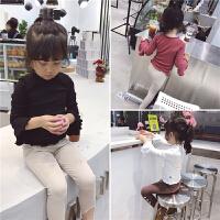 女童韩版打底衫2018款中小童宝宝甜美百搭木耳边喇叭袖T恤