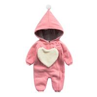 婴儿连体衣服冬季0岁2个月宝宝3冬装新生儿衣服靓仔外出服